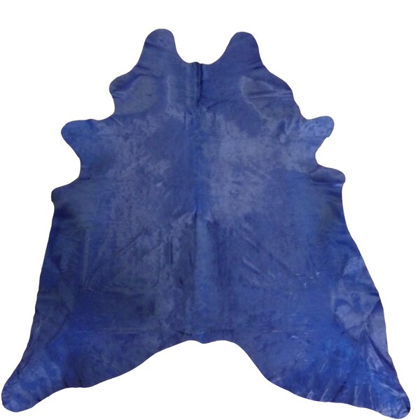 Large Dyed Brazilian Cowhide Navy Area Rug by Chesterfield Leather