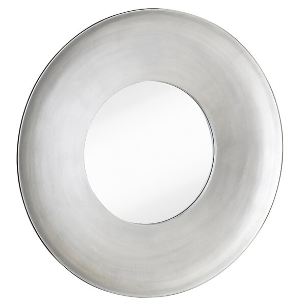 Simple Modern Silver Leaf Circular Framed Glass Wall Mirror by Majestic Mirror