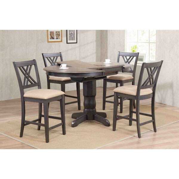 Double X- Back Upholstered Counter Height 5 Piece Pub Table Set by Iconic Furniture