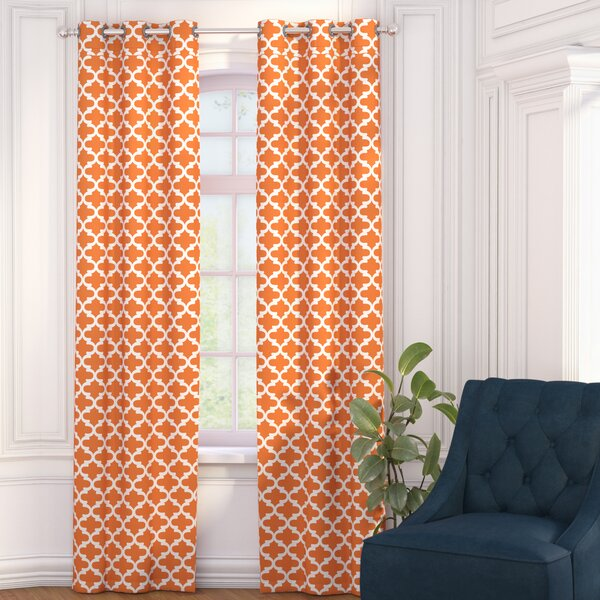 Gladys Geometric Blackout Grommet Curtain Panels (Set of 2) by Charlton Home