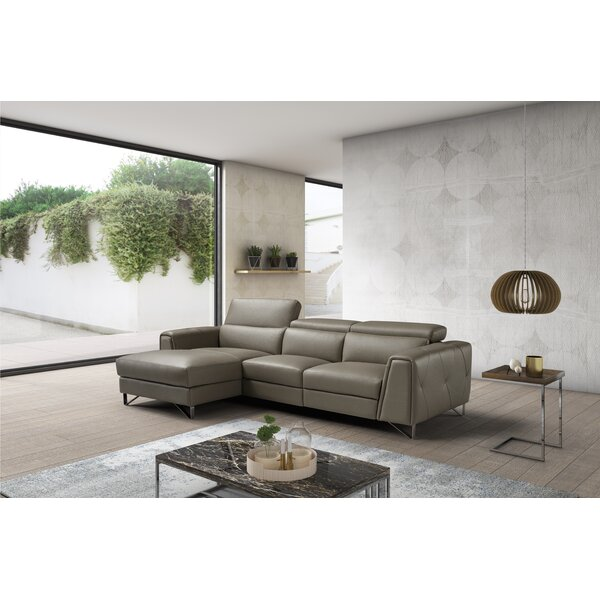 Quinton Leather Reclining Sectional by Orren Ellis