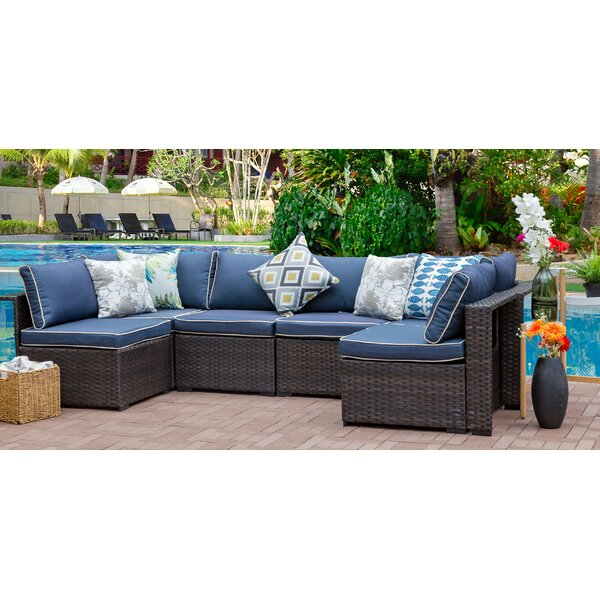 Holliston 6 Piece Rattan Sectional Set with Cushions by Zipcode Design