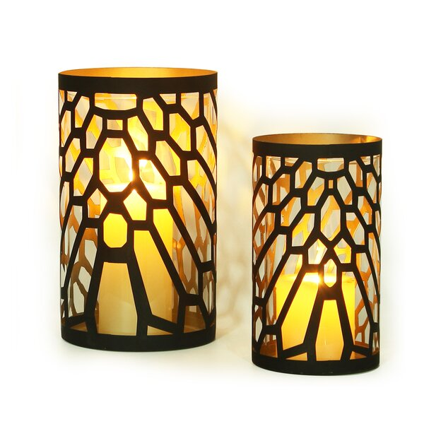 2016 New Romantic Arty Cylinder 2 Piece Metal Votive Set by Adeco Trading
