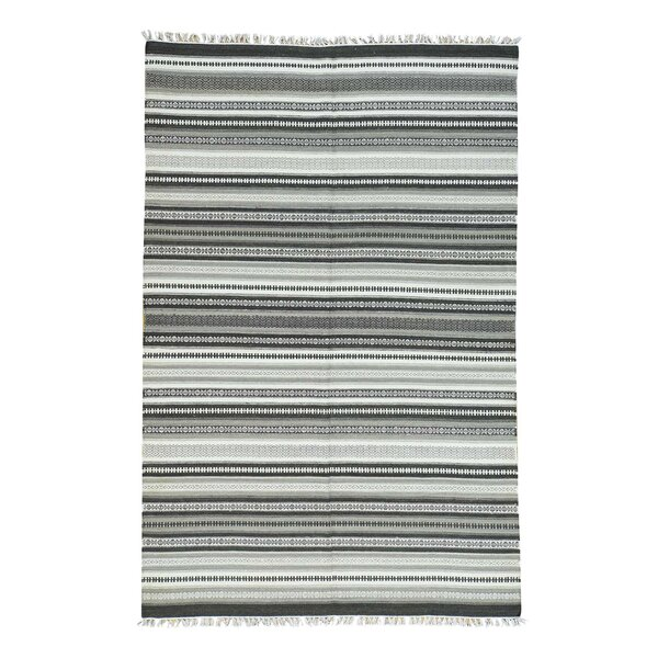 Flat Weave Striped Durie Kilim Hand-Knotted Gray Area Rug by Bloomsbury Market