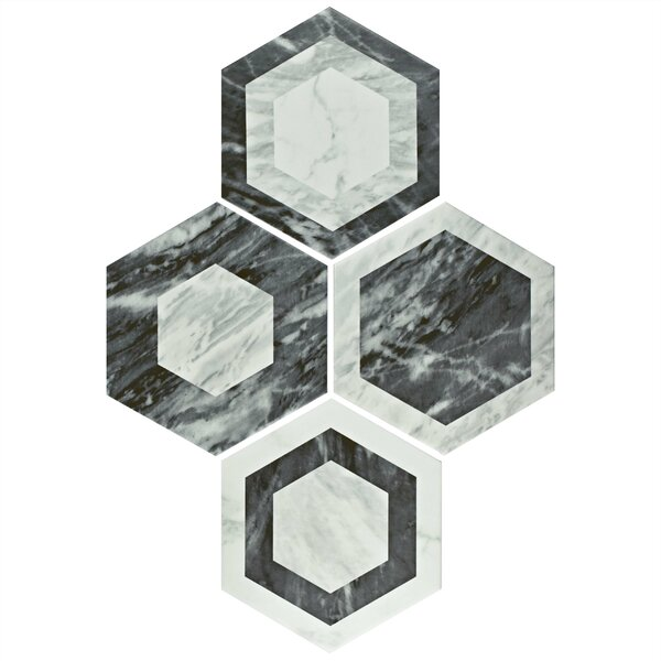 Karra Hexagon 7 x 8 Porcelain Field Tile in Black/White by EliteTile