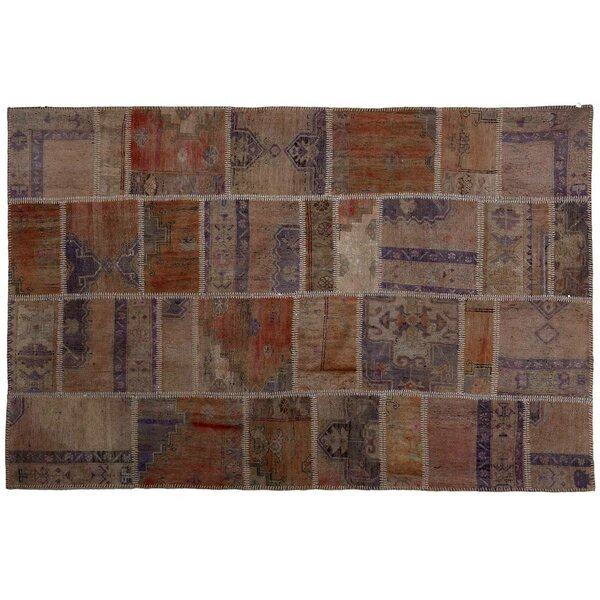 Karin Patchwork Hand-Knotted Wool Orange/Brown Area Rug by Bloomsbury Market