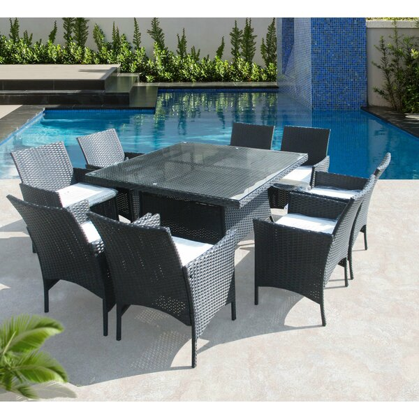 Hendrix 9 Piece Dining Set with Cushions by Latitude Run