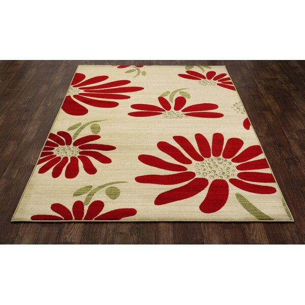 Art Carpet Antigua Spring Daisy Cream/Red Indoor/Outdoor Area Rug ...