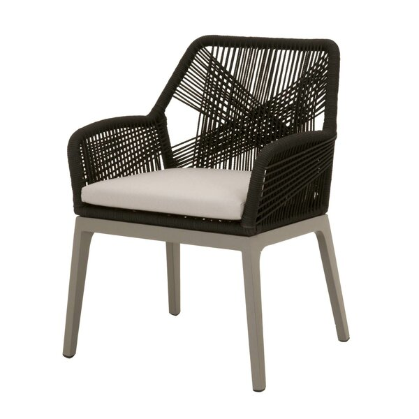 Arnette Rope Weave Design Patio Dining Chair (Set of 2) by Bungalow Rose Bungalow Rose