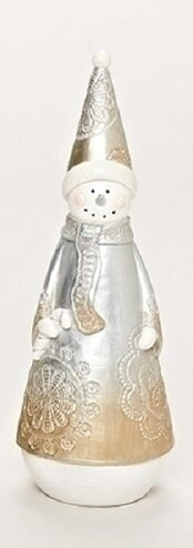 Resin Carved Lace Inspired Snowman with Candy Cane Decorative Christmas Table Top Decoration by Northlight Seasonal