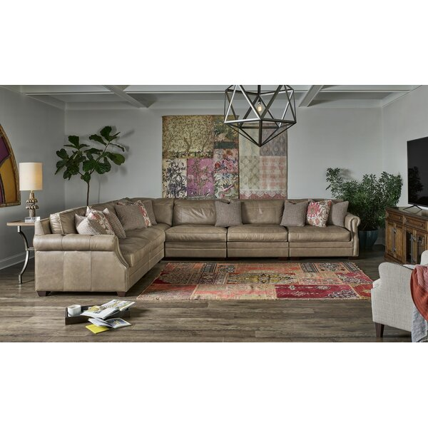 Best Arely Leather Left Hand Facing Modular Sectional
