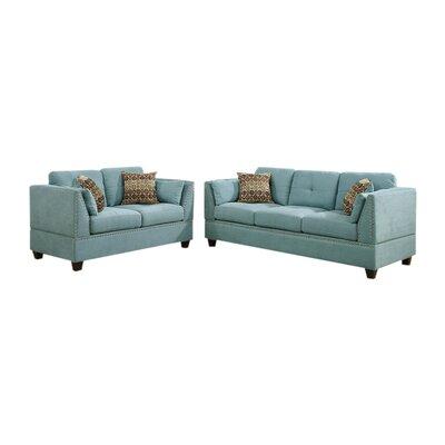 Alejandre Velveteen 2 Piece Living Room Set Upholstery: Hydra Blue