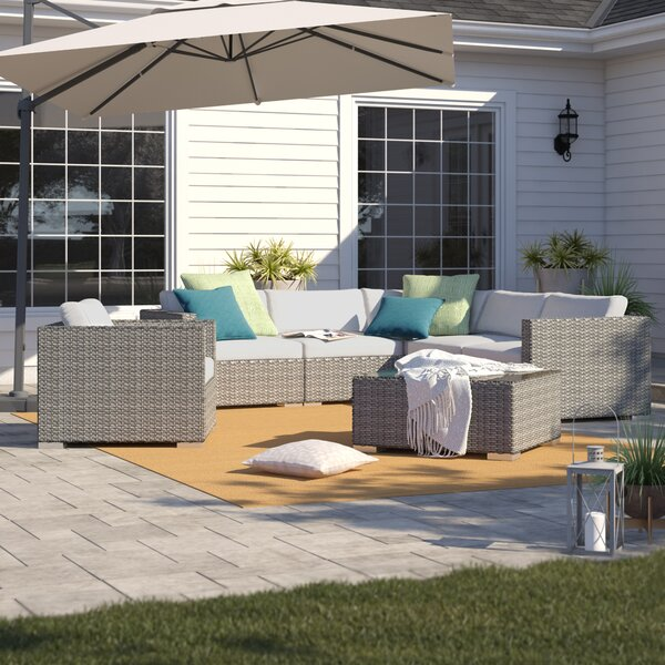 Cabral 7 Piece Rattan Sectional Seating Group with Sunbrella Cushions by Sol 72 Outdoor