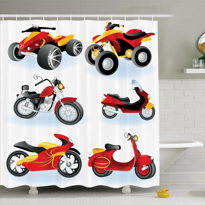 Myaa Motorcycle Icon Hippie Shower Curtain Set