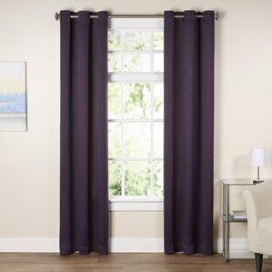 Elegant Wayfair Basics Solid Blackout Grommet Single Curtain Panel To Dark Purple Curtains