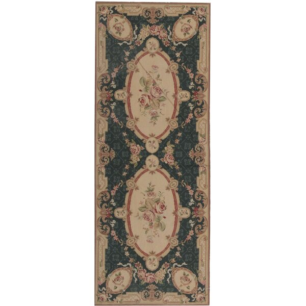 Runner Oriental Hand-Knotted Wool Green/Brown Area Rug