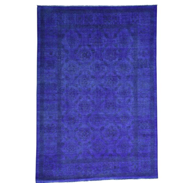 One-of-a-Kind Melodi Overdyed Hand-Knotted Blue Area Rug by Bungalow Rose