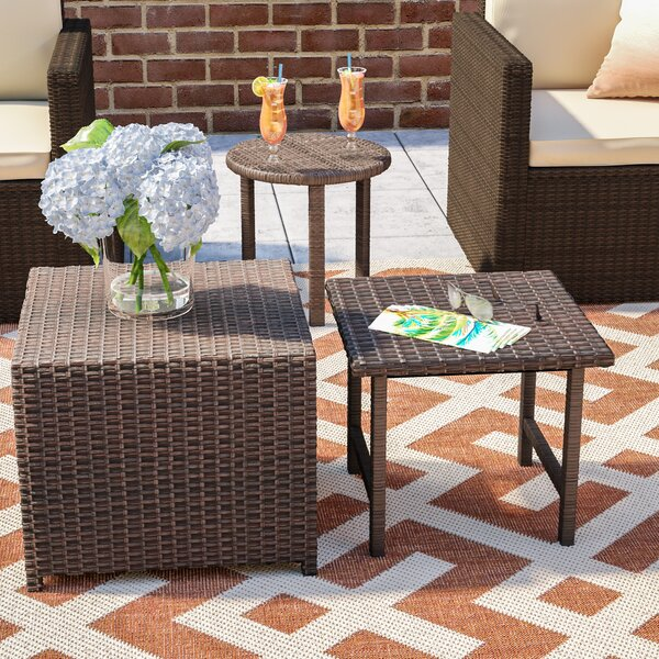 Agamemnon Wicker/Rattan Side Table by Mercury Row
