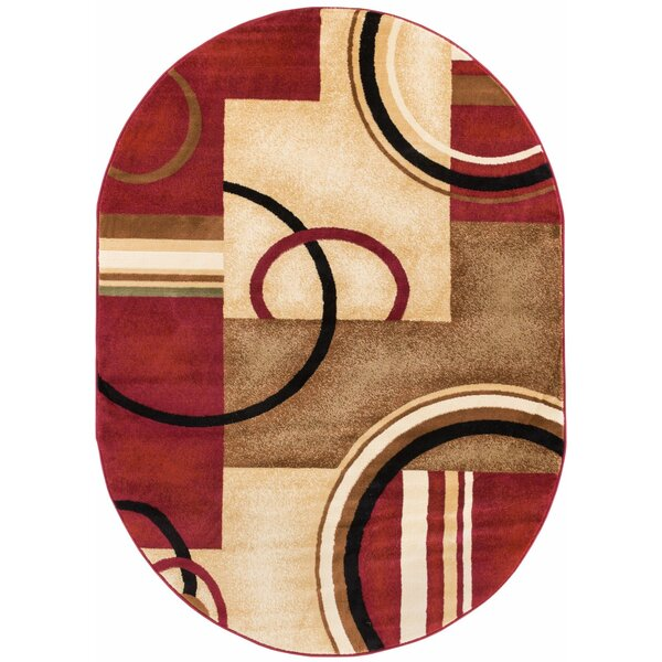 Dogwood Red Arcs and Shapes Modern Area Rug by Andover Mills
