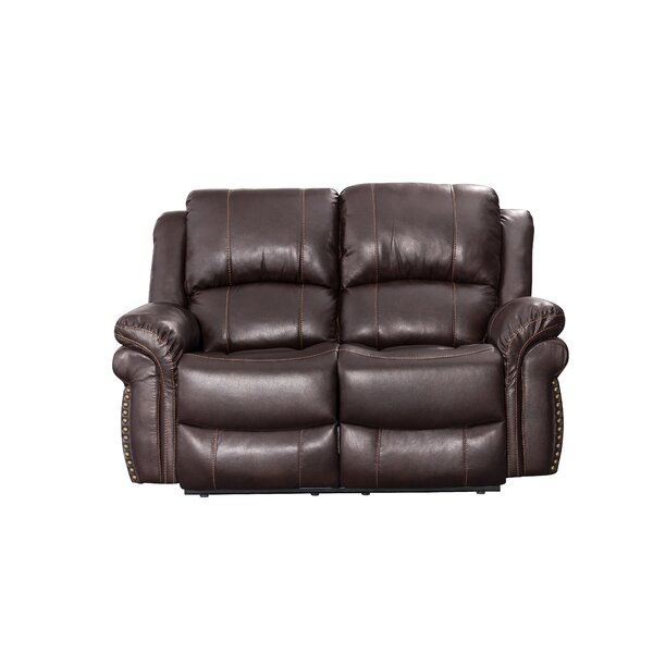 Monteith Leather Reclining Loveseat by Winston Porter