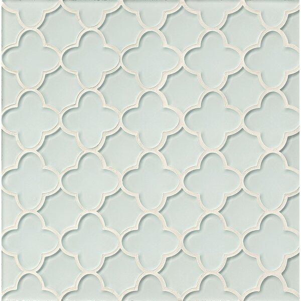 La Palma Glass Flora Mosaic Tile in White by Grayson Martin