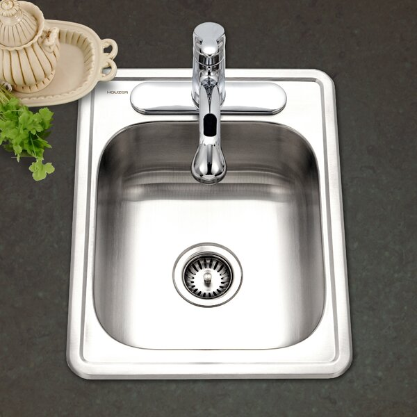 Hospitality 22 L x 17 W Topmount 22 Gauge Large Bar Sink by Houzer