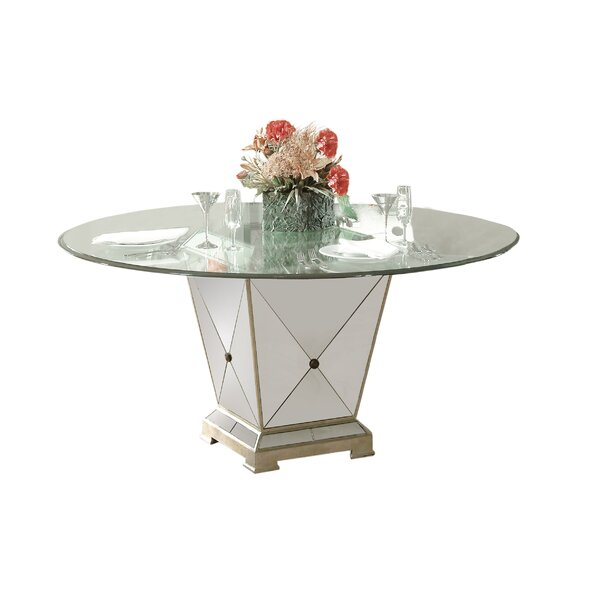 Roehl Mirrored Pedestal Dining Base by Willa Arlo Interiors
