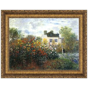 Monet's Garden at Argenteuil (The Dahlias), 1873 by Claude-Oscar Monet Framed Painting Print by Design Toscano