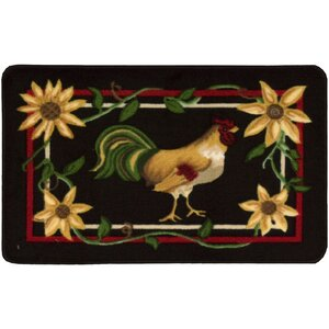 Lyn Rooster Black/Red Area Rug