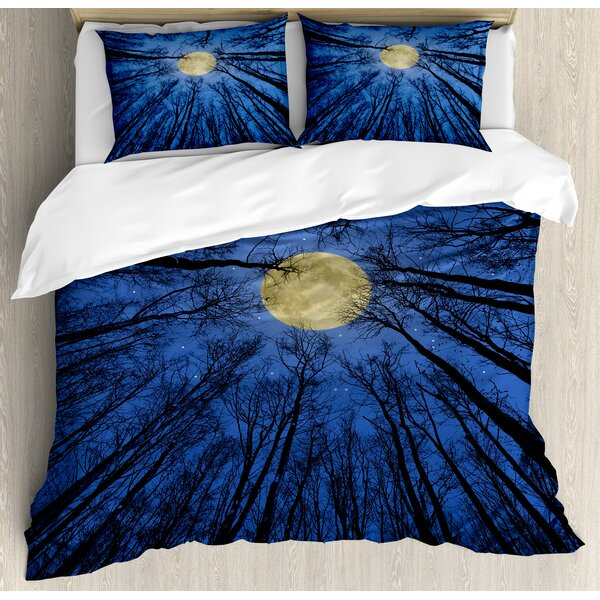 Forest Home Full Moon Illumination in Woods Star Night Heavenly Lunar Treetops Up Space Art Duvet Set by Ambesonne