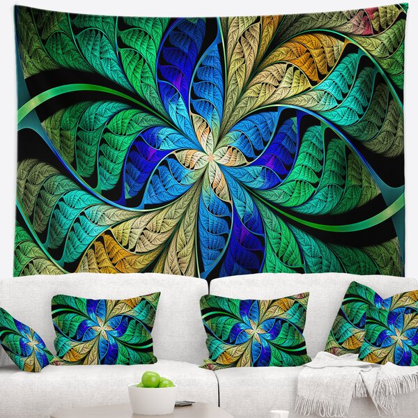 Abstract Blue Green Fractal Flower Petals Tapestry by East Urban Home