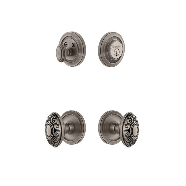 Circulaire Single Cylinder Knob Combo Pack with Grande Victorian Knob by Grandeur