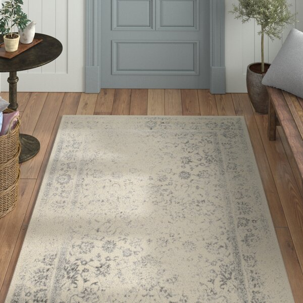 Power Loom Aiken Ivory/Silver Area Rug by Laurel Foundry Modern Farmhouse