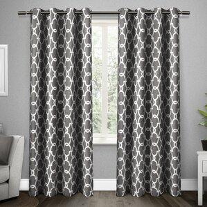 Britain Geometric Blackout Thermal Grommet Curtain Panels (Set Of 2)