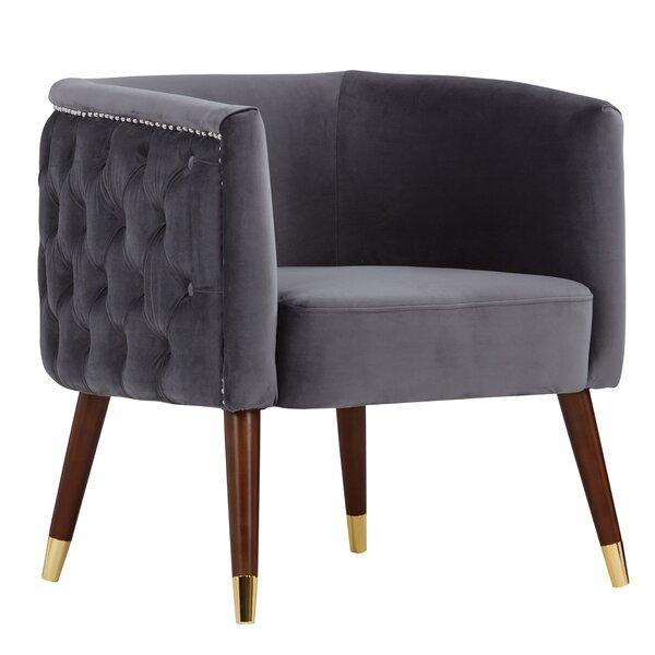 Palen Velvet Barrel Chair by Everly Quinn
