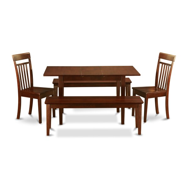Balfor 5 Piece Solid Wood Breakfast Nook Dining Set by Andover Mills