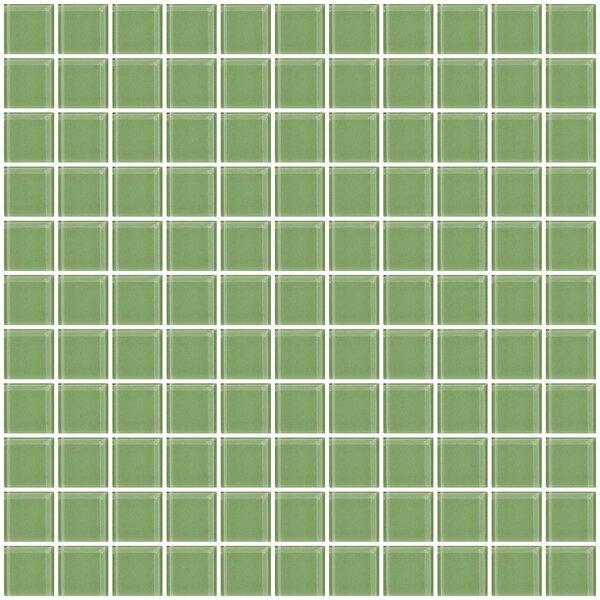 1 x 1 Glass Mosaic Tile in Light Sage Soft Green by Susan Jablon
