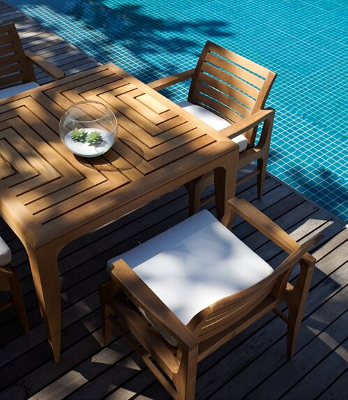 Limited 5 Piece Teak Dining Set with Cushions by OASIQ