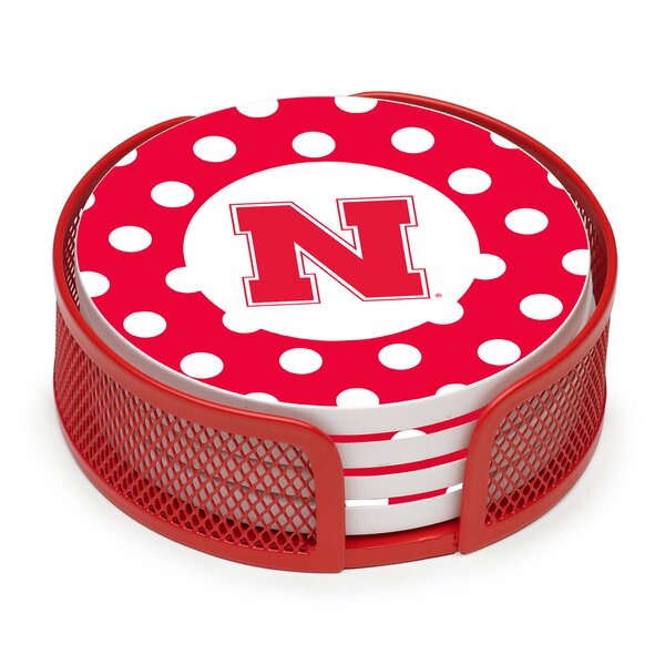 5 Piece University of Nebraska Dots Collegiate Coaster Gift Set by Thirstystone
