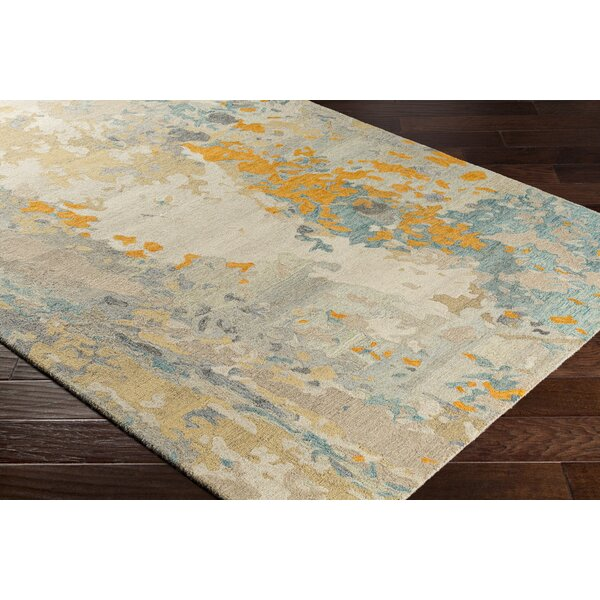 Randall Abstract Hand-Hooked Wool Saffron/Cyan Area Rug by Bungalow Rose