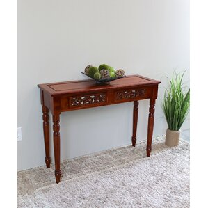 Windsor Hand Carved Wood 2-Drawer Indoor Console Table by International Ca..