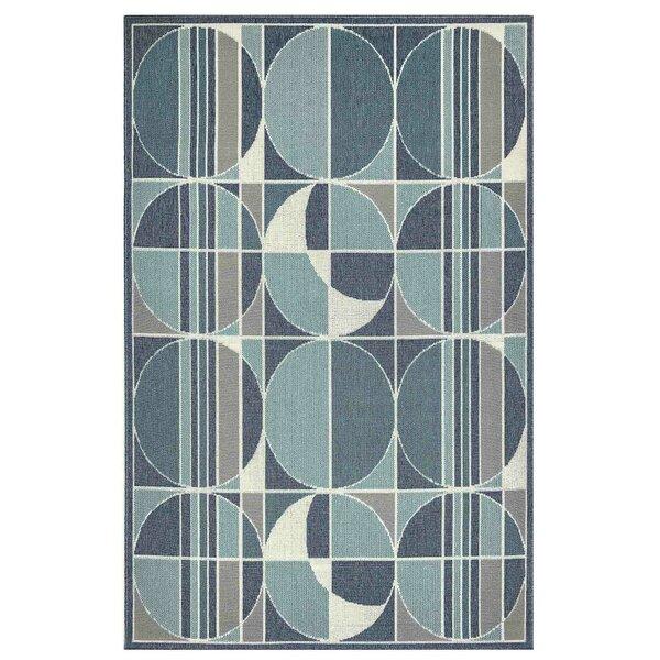 Corr Circles Blue Indoor/Outdoor Area Rug by Ebern Designs