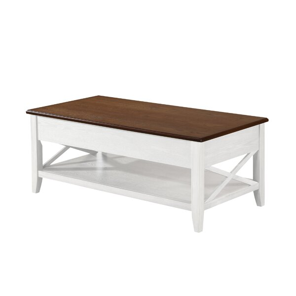 Atherton Farmhouse Faux Wood Lift Top Coffee Table by Canora Grey