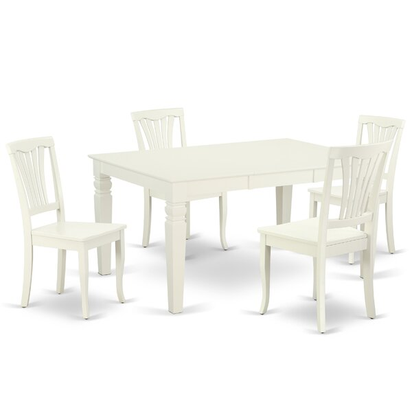 Kuhlman 5 Piece Extendable Solid Wood Dining Set by August Grove