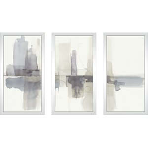 'Improvisation II Gray' Framed Painting Print Multi-Piece Image on Glass by Ivy Bronx
