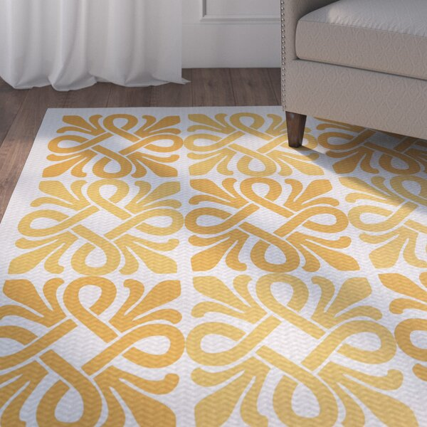 Temple Terrace Yellow/White Indoor/Outdoor Area Rug by Beachcrest Home