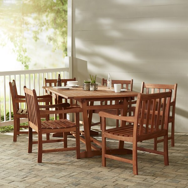 Amabel Traditional 7 Piece Solid Wood Dining Set by Beachcrest Home