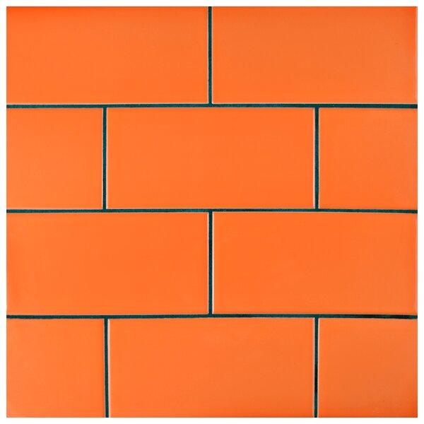 Prospect 3 x 6 Ceramic Subway Tile in Glossy Tangerine Orange by EliteTile