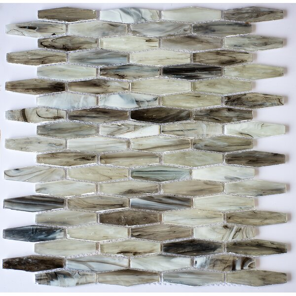 Esagono Marmo 0.75 x 2.75 Glass Mosaic Tile in White/Beige by Byzantin Mosaic