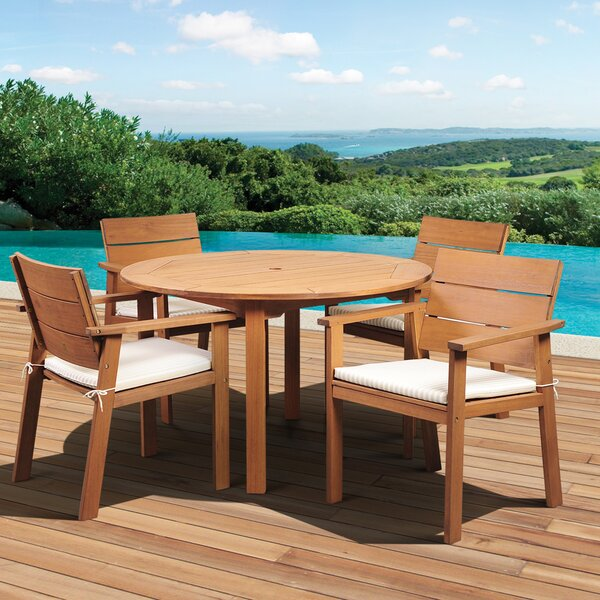 Trower International Home Outdoor 5 Piece Dining Set with Cushions by Highland Dunes